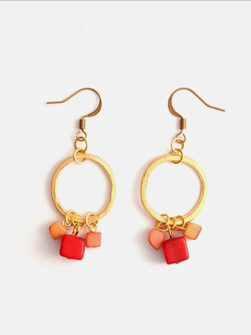 Leticia Tagua and Brass Hoop Earrings in Coral Mix
