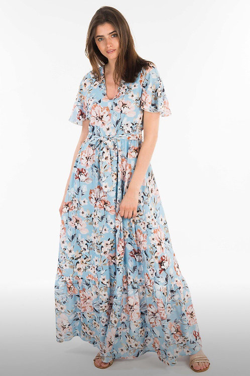 Amaranto Maxi Dress  - Fiori Rosa