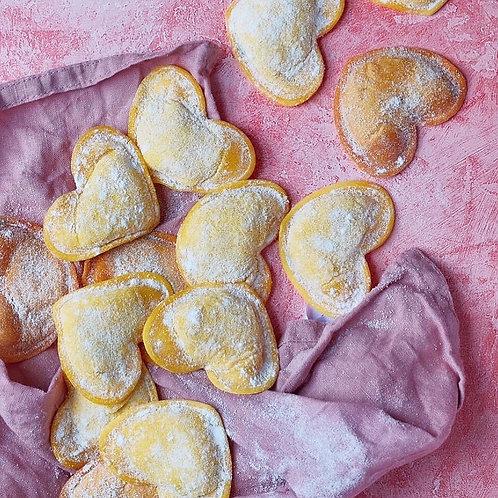 Heart- shaped fresh ravioli