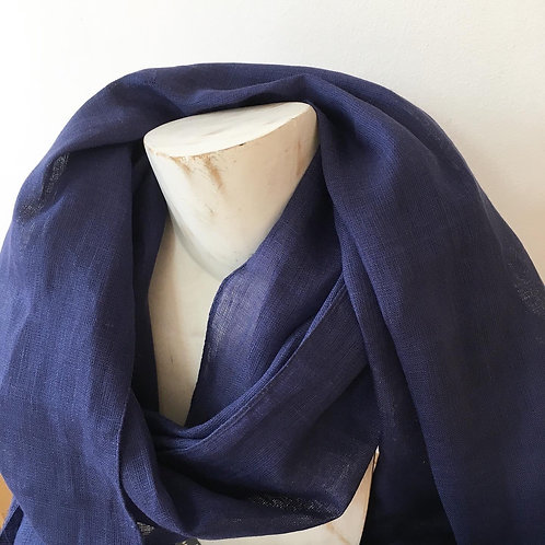 Linen Scarf in Navy