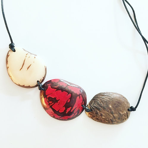 Trio Slice Necklace - Red