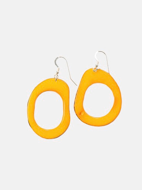 Tagua Nut Loop Earrings in Yellow