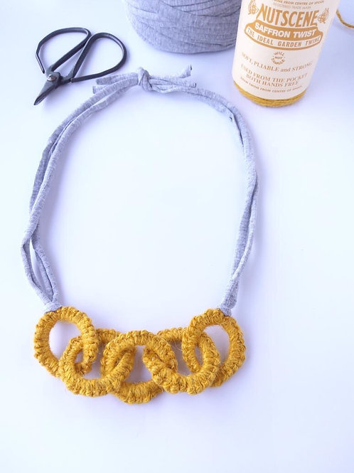 Olive Rose Tatted Necklace in Saffron Yellow