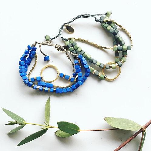 Leticia Multi Green and Brass Bracelet