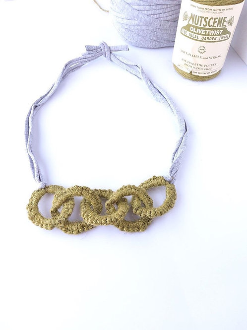Olive Rose Tatted Necklace in Olive Green