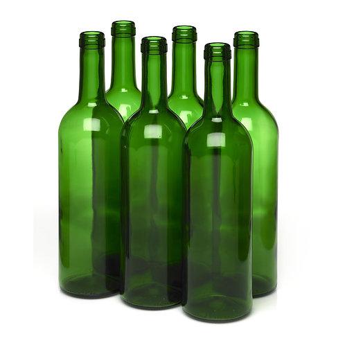 Case of 750ml Green Cork Wine Bordeaux Bottles, Case of 12