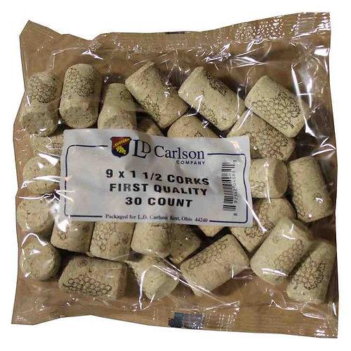 9 X 1 3/4 Quality Straight Wine Corks, 30 per bag