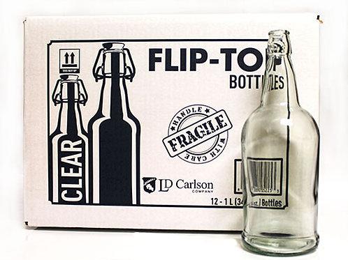 Clear Flip-Top Bottles 1 Liter (34 oz), 12 per case
