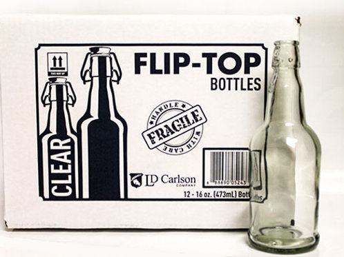 16 oz Clear Flip-Top Bottles