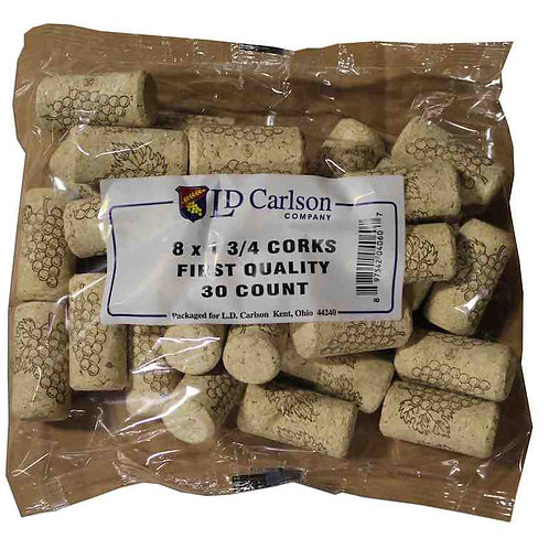 8X1 3/4 Quality Straight Wine Corks 33X22 mm, 30 per bag