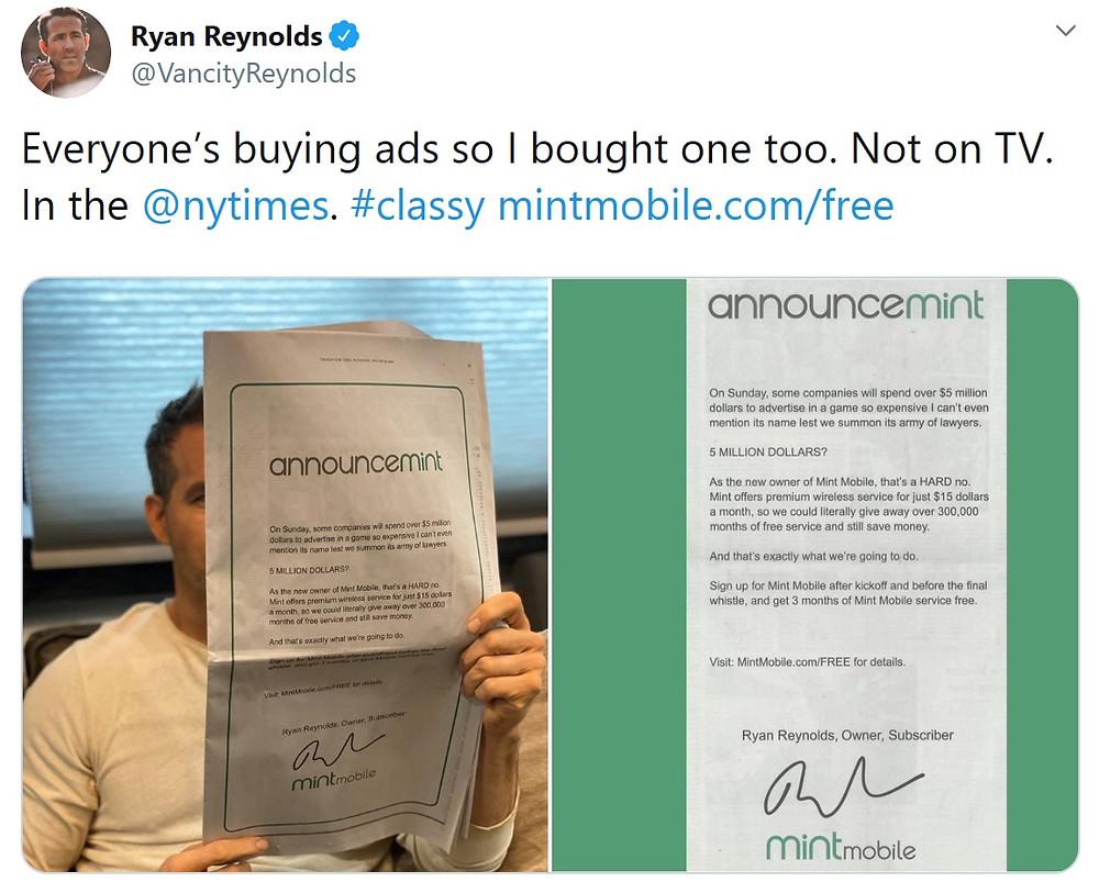 Ryan Reynolds' Super Bowl ad for Mint Mobile