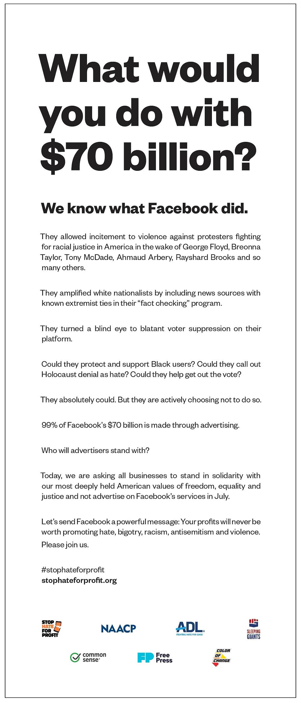 #stophateforprofit: don't advertise on Facebook