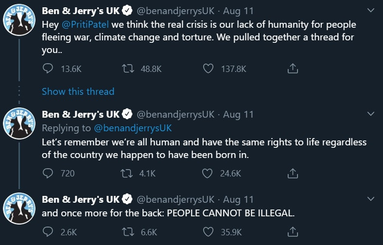 Ben & Jerry's going toe to toe with the UK Government over asylum seekers