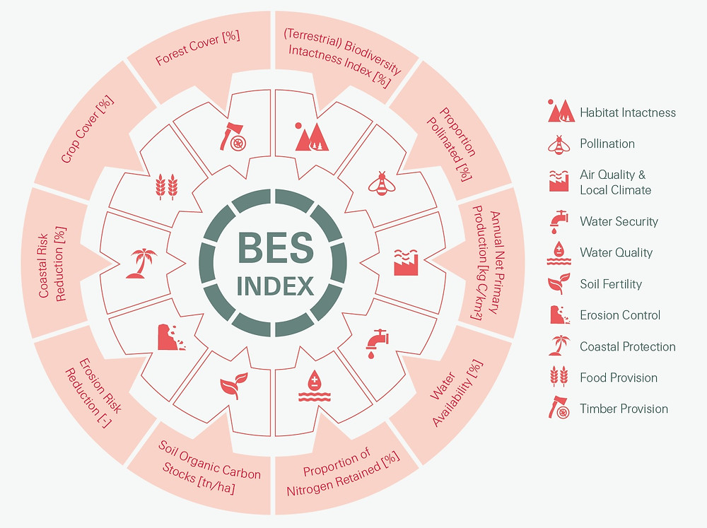 Health measures for biodiversity and ecosystem services (Swiss Re)