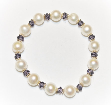 Pearl and Amethyst Stretch Bracelet