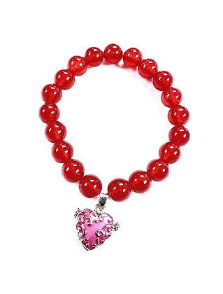 Cherry Quartz Heart Locket Charm Bracelet (Rose)