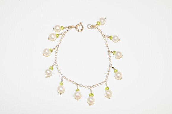 Freshwater Pearl and Peridot Charm Bracelet