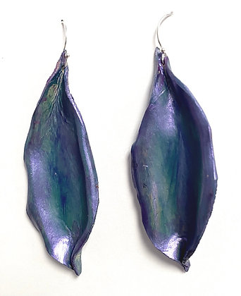 "Leather Lily Earrings ""Peacock"""