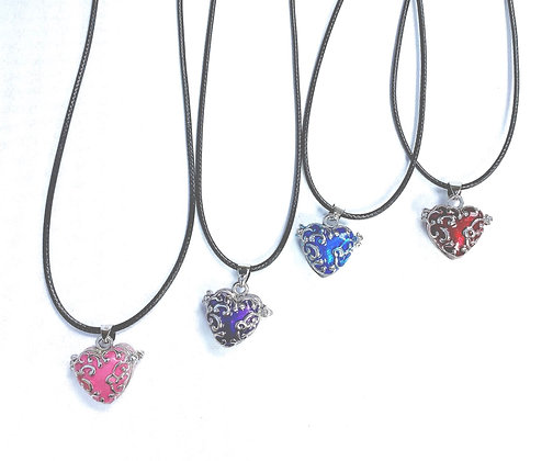 Enameled Heart Locket Necklace