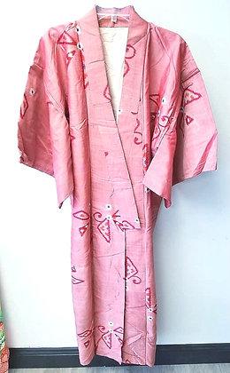 Cherry-Pink Vintage Silk Kimono
