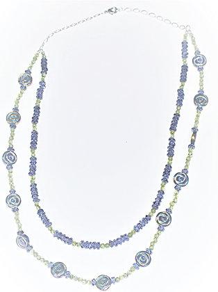 Amethyst, Peridot, & Hematite Rose Necklace