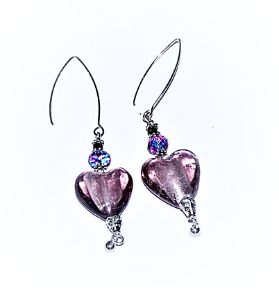 Bohemian Hearts Earrings (Grape)