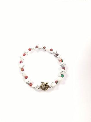 Howlite Bracelet with Owl (bronze tone)