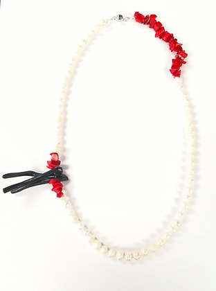 Freshwater Pearl & Coral Necklace