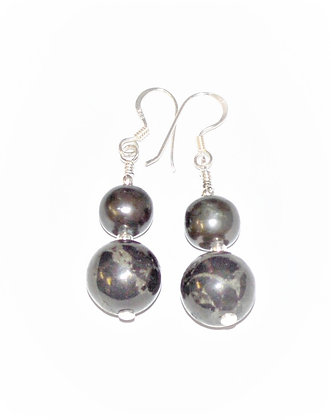 Black Pearl & Lignite Earrings