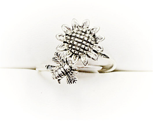 Sunflower and Bee Adjustable Ring