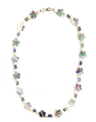 Blossoms Necklace (Fluorite, Tanzanite, Pearls)