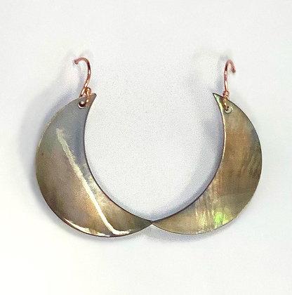 Black Lip Shell Crescent Moon Earrings (14k Rose Gold)