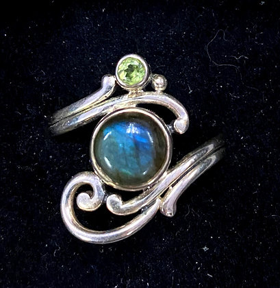Labradorite Faerie Scroll Ring