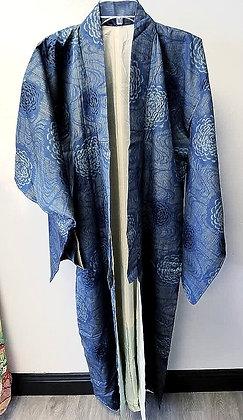 Chrysanthemum Print Silk Kimono (Vintage)