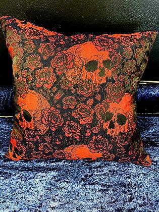 Skulls and Roses (Red Brocade & Blue Velvet)