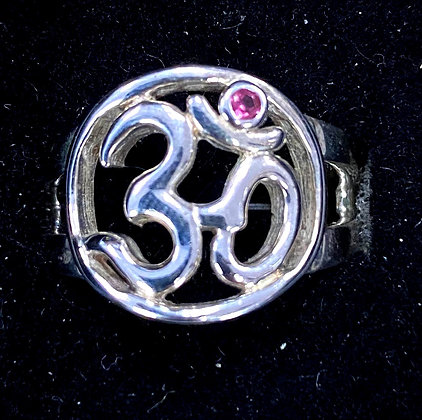 Om Ring with Pink Tourmaline Accent