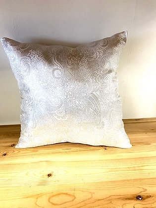 Silver Paisley Brocade Pillow