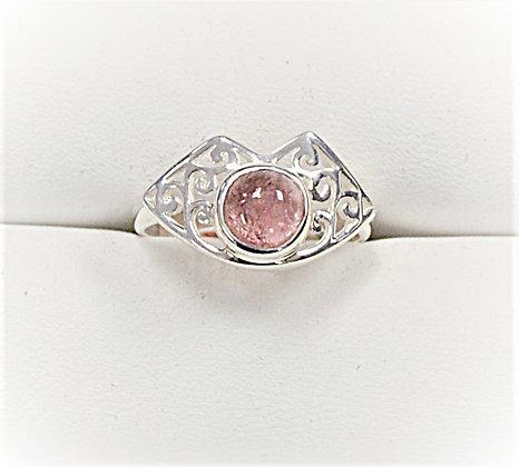 Pink Tourmaline Filigree Ring