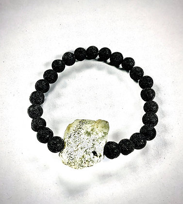 Lava Stone Stretch Bracelet with Rough Serpentine