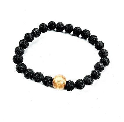 Lava Stone Stretch Bracelet with Wood Accent