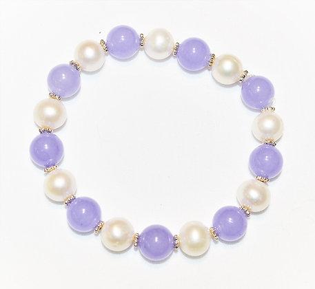 Lavender Jade and Pearl Bracelet