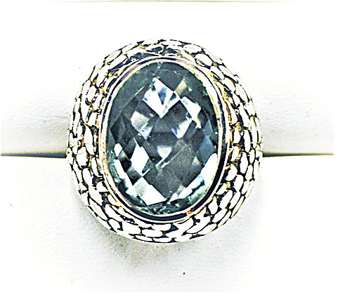 Mirrored Green Quartz Dome Cocktail Ring