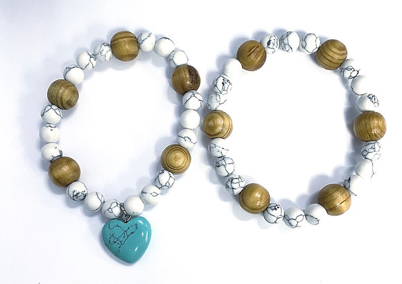 Howlite & Wood Charm Bracelet Set