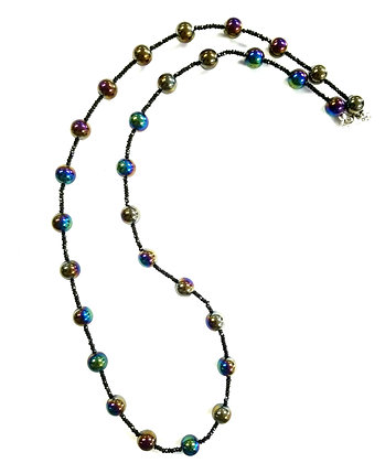 Black Spinel and Peacock Quartz Bead Necklace