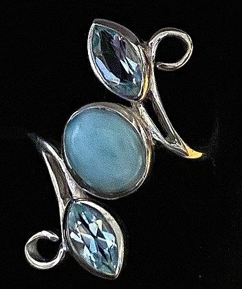 Larimar & Blue Topaz Faerie Vine Ring