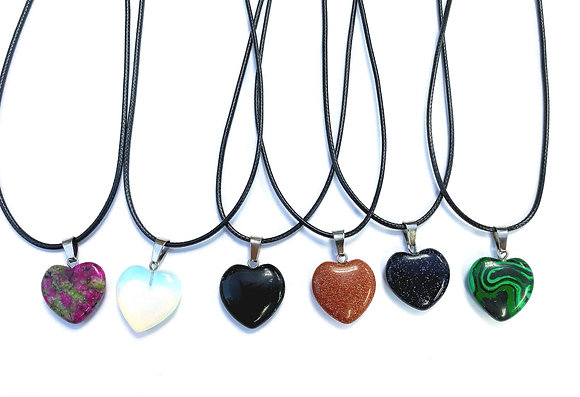 Glass & Synthetic Gemstone Heart Necklace