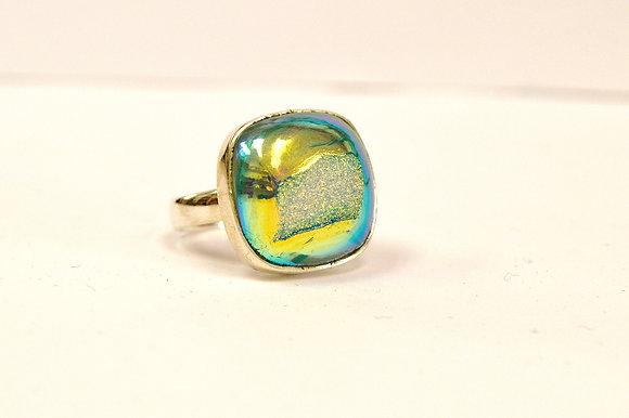 Metallic Teal Druzy Quartz Ring