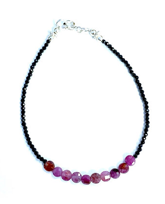 Black Spinel & Ruby Bracelet