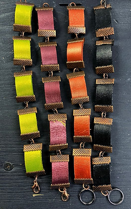 Leather Link Bracelet (Copper-Tone)