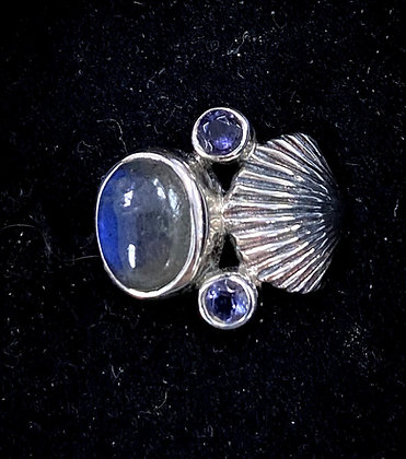 Labradorite Shell Ring